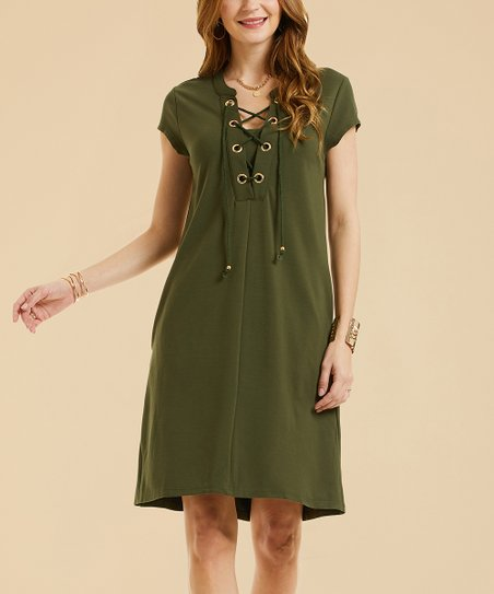 Suzanne Betro Dresses Olive Lace Up Shift Dress Women Plus Zulily
