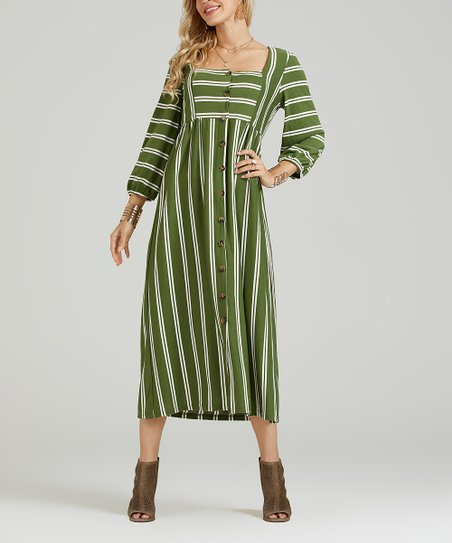 7a8fa5e3e821 love this product Green   White Stripe Button-Up Midi Dress - Women   Plus