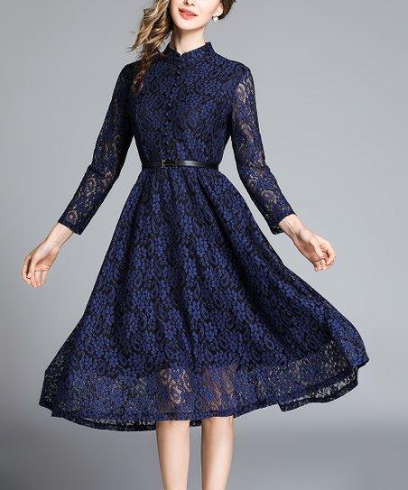 3de8993d205 Coeur de Vague Black   Navy Lace Button-Front Midi Dress - Women ...