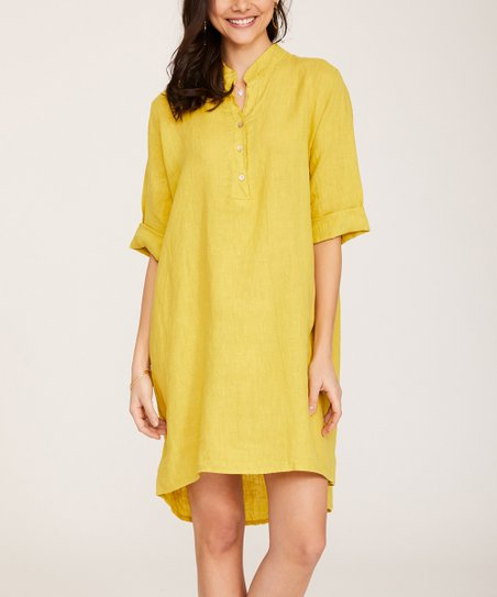 3c005c288b9 love this product Mustard Oversize Linen Shirt Dress - Women   Plus