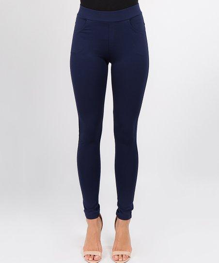 cb2b6ccb99cb love this product Navy Blue Side-Pocket Skinny Pants - Women