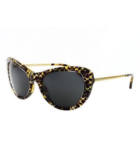 c36aa2f38922 Coach Black & Yellow Signature Cat-Eye Sunglasses | Zulily