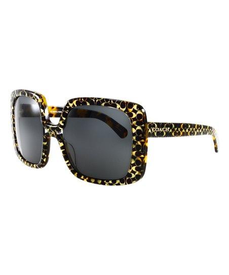 0acea4f77c87b Coach Black   Yellow Signature Oversize Square Sunglasses