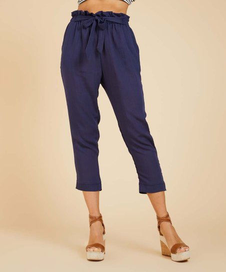 e68b886c5f91 Suzanne Betro Weekend Navy Crop Pants - Women   Plus