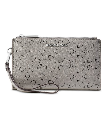 e84e0b46dd14 love this product Pearl Gray Adele Floral Perforated Double-Zip Wristlet
