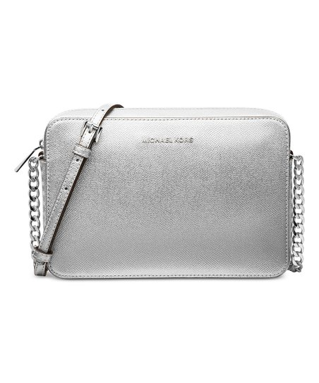 6305e66e3ef2 love this product Silver Jet Set Travel Large Metallic Leather Crossbody