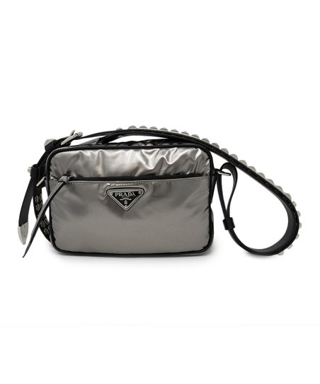 0f3402256ae5 Prada Gunmetal Gray & Black Studded-Strap Crossbody Bag | Zulily