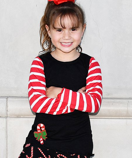 b37e39daa4 love this product Black & Red Stripe Candy Cane Long-Sleeve Tee - Toddler &  Girls