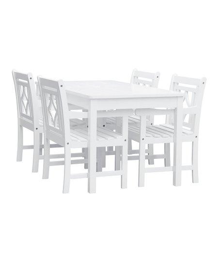 love this product White Bradley Outdoor Five-Piece Wood Patio Rectangular Table  Set 49137fe1de