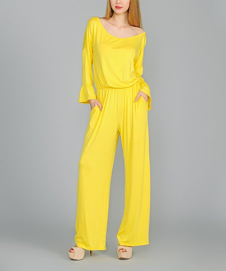 5fa383ac20fa love this product Yellow Ruffle Long-Sleeve Jumpsuit - Women