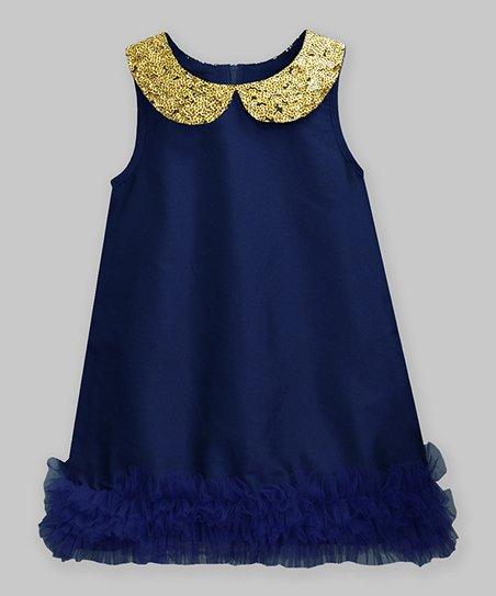a514eb8d2 love this product Navy & Gold Sequin Samaira Sleeveless Dress - Infant,  Toddler & Girls