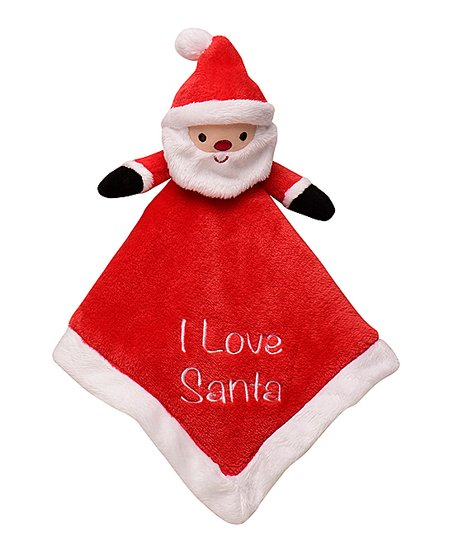 e471b2e2f love this product Red & White Embroidered 'I Love Santa' Baby Rattle Blanket