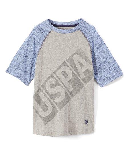 337f8bc2 love this product Marled Light Gray 'USPA' Cut & Sew Raglan Tee - Boys
