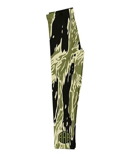 3266e42c4401b1 love this product Green & Black Abstract Camo Monogram Leggings - Infant,  Toddler, Girls & Women