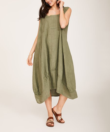 04f9bd6394f Ornella Paris Khaki Square Neck Bubble-Hem Linen Midi Dress - Women ...