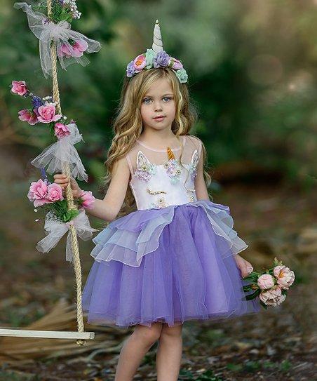 193419811d4b2 Mia Belle Girls Lavender Unicorn A-Line Dress - Girls   Zulily
