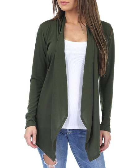 6abd7dda4d3 California Trading Group Olive Drape-Front Open Cardigan - Plus