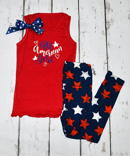 6f5fda5b3f0 love this product Red  All American Girl  Tank   Navy Star Leggings - Girls