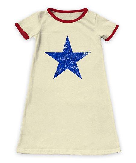 3cc80e931 Cream & Red Weathered Star Ringer Short-Sleeve Dress - Toddler & Girls