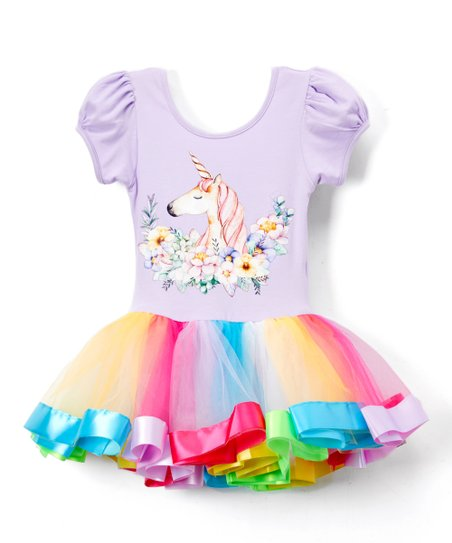 f0e31e2360ad Lavender Unicorn Stripe Tutu Ballet Dress - Infant, Toddler & Girls