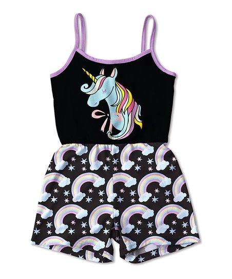 d510c793b7f love this product Black   Lavender Unicorn Rainbow Romper - Toddler   Girls
