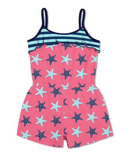ec04c3681a1 love this product Coral   Turquoise Stripe Starfish Ruffle Romper - Toddler    Girls