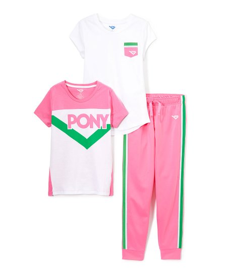 9826f5cd0 love this product Pink & Green 'Pony' Knit Short-Sleeve Top Set - Infant,  Toddler & Girls