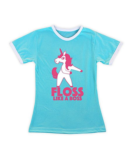 0610064fe04b Turquoise   Pink Floss Like A Boss Unicorn Fitted Tee - Toddler ...