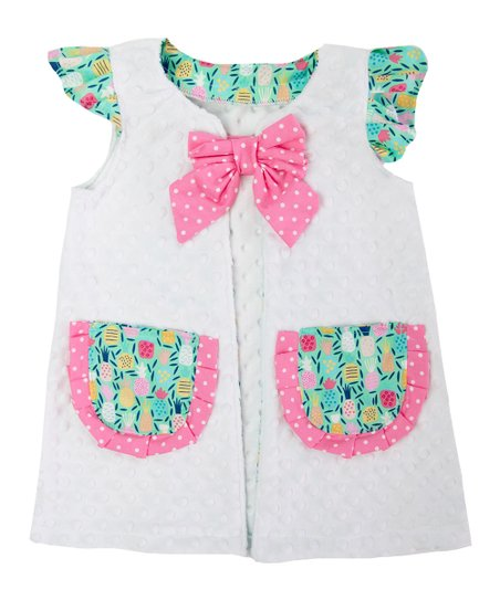 15447945cece0 love this product White Minky & Mint Pineapple Pocket Swimsuit Cover-Up -  Infant & Toddler