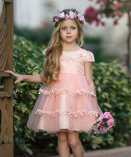 e1143a599da79 Mia Belle Girls Pink Floral Chiffon Cap-Sleeve Dress - Toddler | Zulily