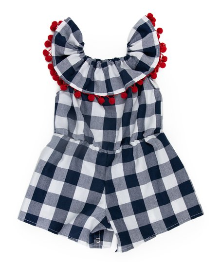 cd6fe833f5c6 love this product Navy   Red Gingham Pom-Pom Annie Romper - Infant   Toddler