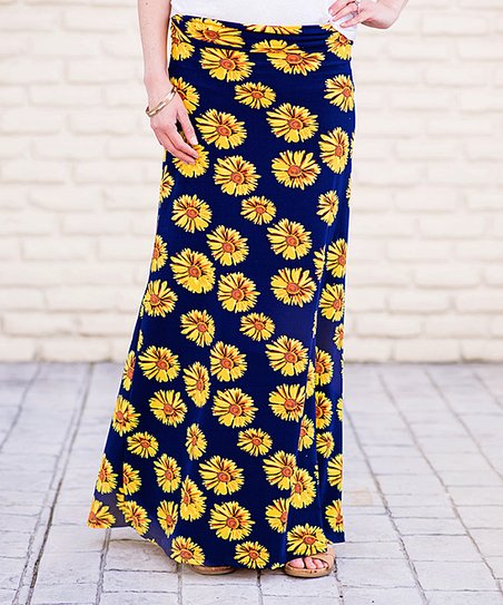 0e6fbac121af Mayah Kay Fashion Boutique Navy & Yellow Sunflower Maxi Skirt | Zulily