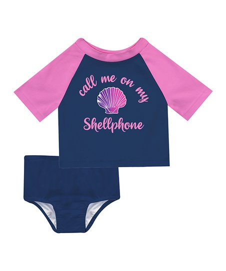 28c9e8679d7e love this product Navy & Pink 'Call Me on My Shellphone' Short-Sleeve  Rashguard Set - Infant, Toddler & Girls