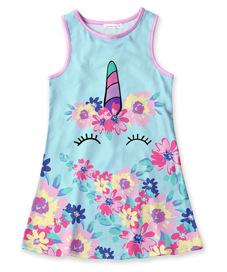 b755f341eb029 love this product Turquoise & Pink Floral Unicorn Sleeveless Dress - Toddler  & Girls