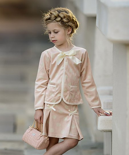 a4a244c75 love this product Pink & Creme Polka Dot Tweed Jacket & Pleated Skirt -  Toddler & Girls