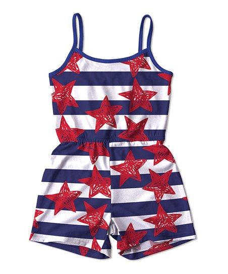 e1e57a1af5d Sunshine Swing Navy & Red Stars & Stripes Romper - Toddler & Girls ...