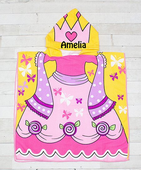 48bc28e10cf7a Dress Up Dreams Boutique Pink Princess Personalized Hooded Bath Towel