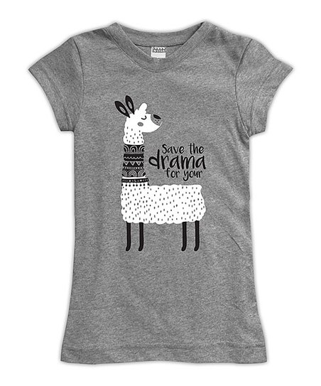 2ff177cb love this product Heather Gray 'Save the Drama for Your Llama' Fitted Tee -  Toddler & Girls