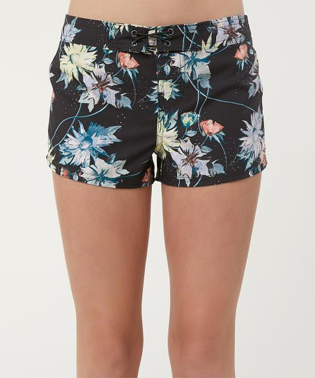 be44884fdf ONeill Black Floral Breeze 2 Boardshorts - Girls | Zulily