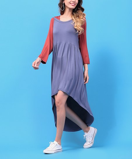1b7a46e8ee love this product Blue & Rust Hooded Hi-Low Dress - Women & Plus