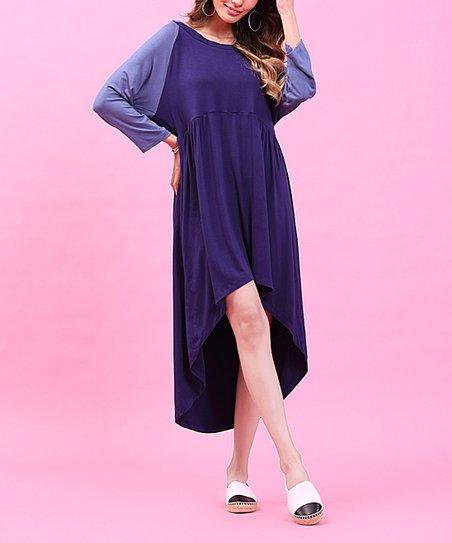 7fb8f78a30ff love this product Dark Blue & Light Blue Hooded Hi-Low Dress - Women & Plus