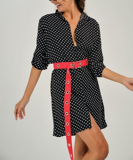 6eab6dea2 Milan Kiss Black   White Polka Dot Shirt Dress - Women