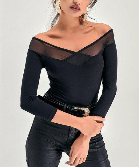 3ef355596cbfab Milan Kiss Black Sheer Border Off-Shoulder Top - Women | Zulily