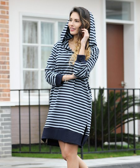 0d7675a9578a love this product Navy & Light Blue Stripe Side-Pocket Hooded Dress - Women  & Plus