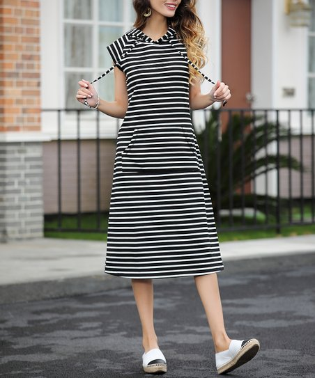 de972003a9ca love this product Black & White Stripe Hooded Midi Dress - Women & Plus