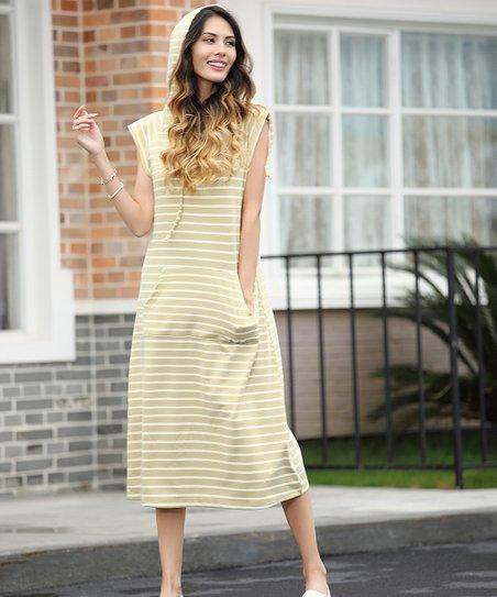6067fc80ae love this product Yellow & White Stripe Hooded Midi Dress - Women & Plus