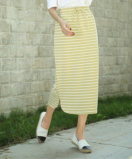 30b0cfd07d love this product Yellow & White Stripe Midi Skirt - Women & Plus