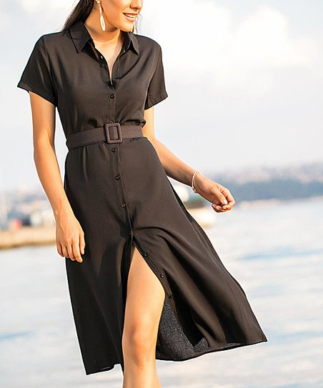 b80224d9c445 Milan Kiss Black Belted Button-Up Collar Midi Dress | Zulily