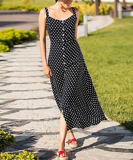 3b4479ff69a Milan Kiss Black Polka Dot Button-Up Midi Dress - Women