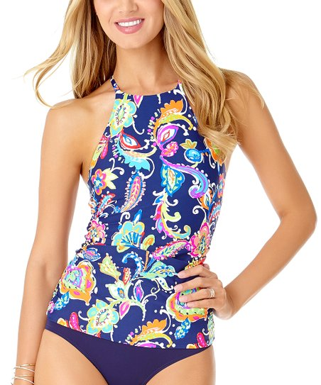 d97bea29a473f Anne Cole Blue & Green Paisley High-Neck Tankini Top - Women | Zulily